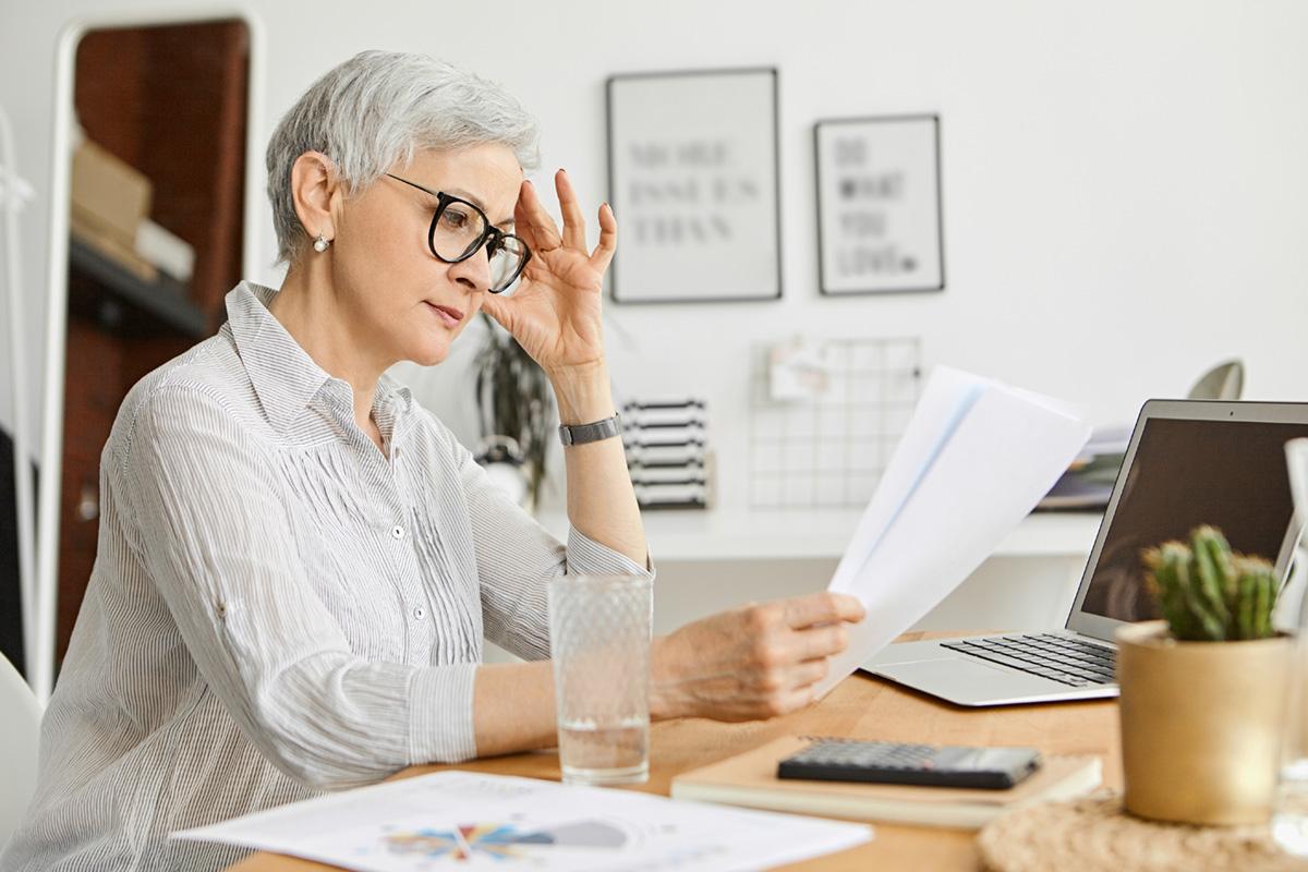 A female office worker in an office.